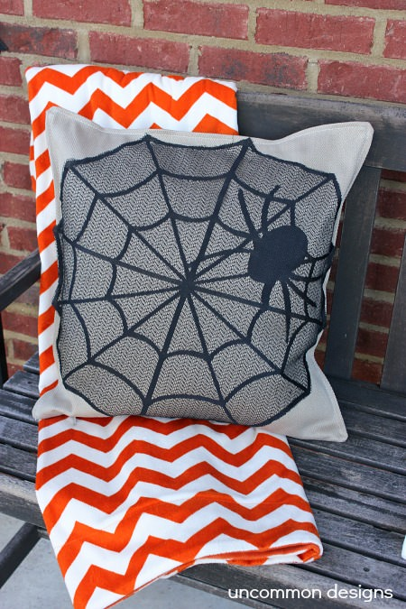 No Sew Spider Web Halloween Pillow