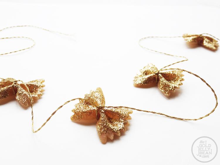 Gold Glitter Bowtie Pasta Garland