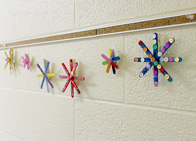 Popsicle Stick Snowflake Garland