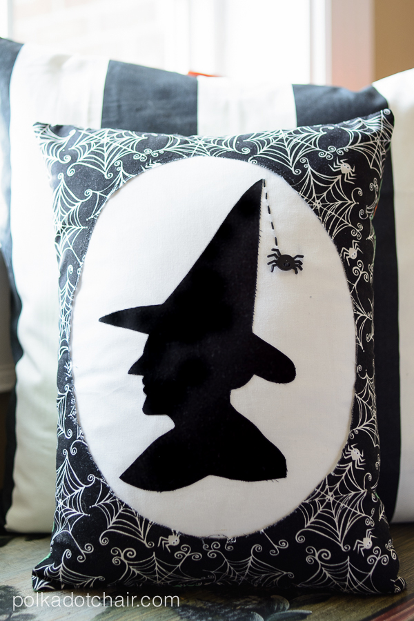 Witch's Silhouette Halloween Pillow