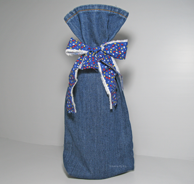 Denim Wine Bottle Gift Bag