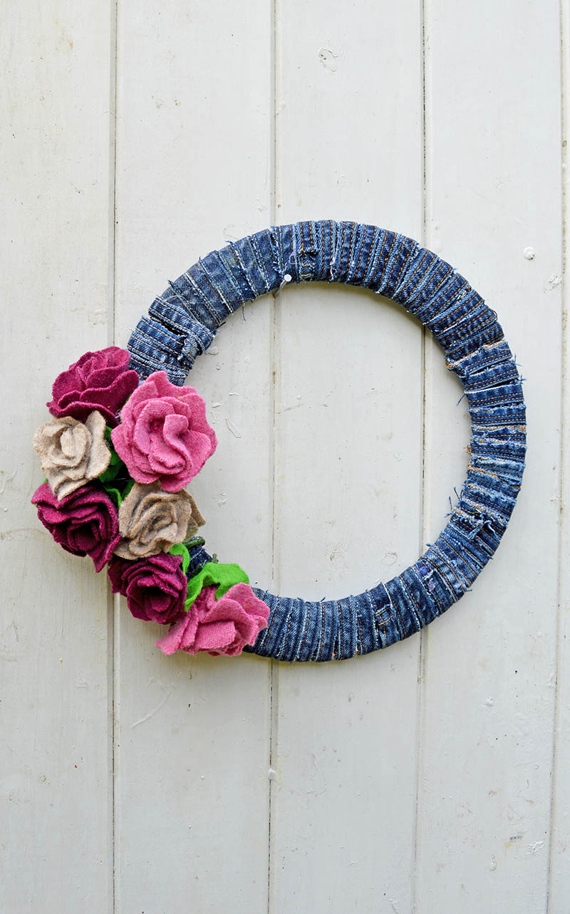 Denim Wreath With Felt Roses