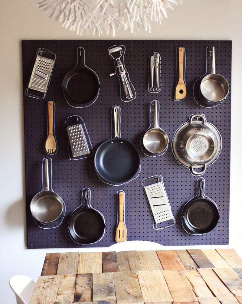 Kitchen Pegboard Storage Wall
