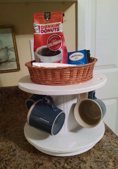 Repurpose a Small Wooden Cable Spool Into a Coffee Station