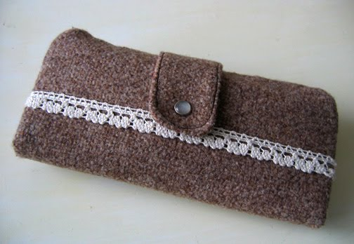Wool and lace wallet