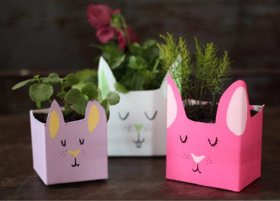Milk Carton Bunny Planters