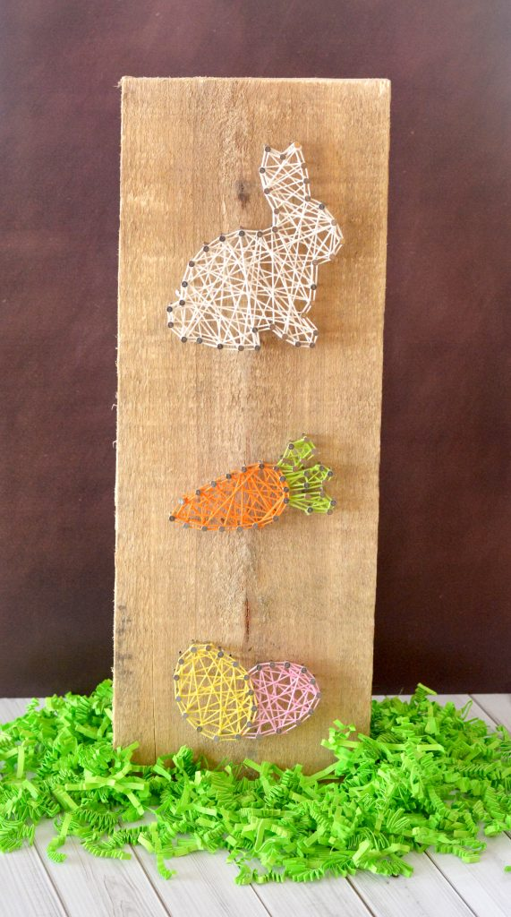 Easter Bunny, Carrot & Egg String Art Craft