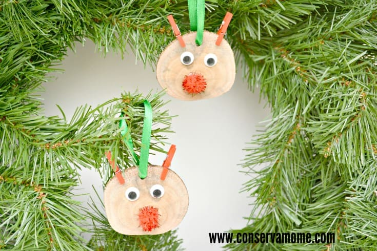Rudolf Wood Slice Ornaments