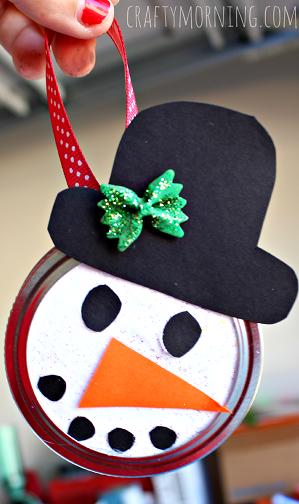 Snowman Mason Jar Lid Ornament