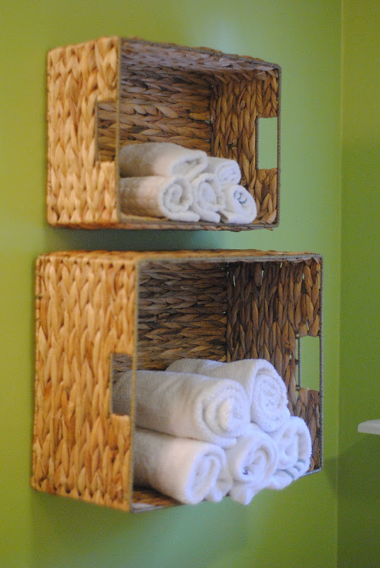 Use baskets as shelves