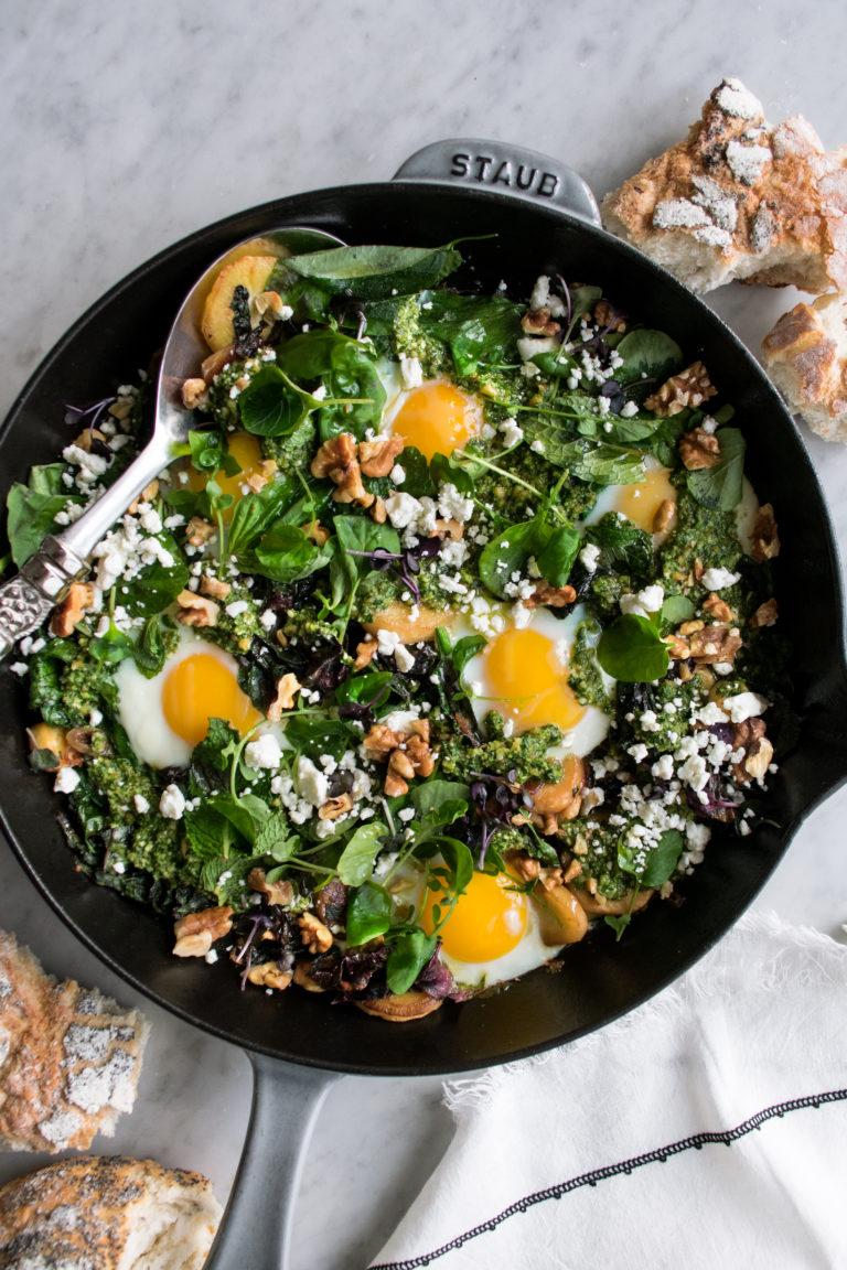 Baked Eggs with Parsnips & Walnut Pesto