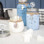 Beachy painted mason jar containers