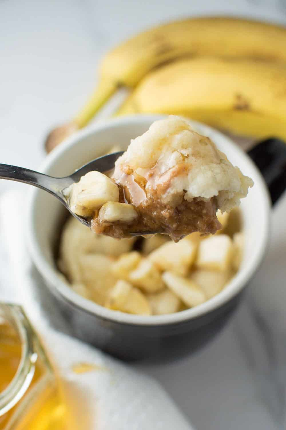 Honey Peanut Butter Banana Mug Cake