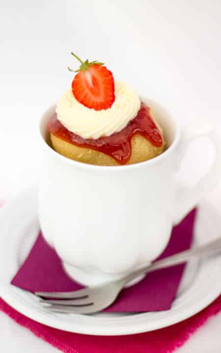 Speedy Strawberries & Cream Mug Cake