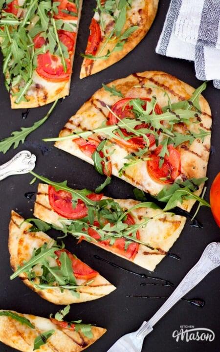 15 Minute Tomato & Mozzarella Naan Pizza