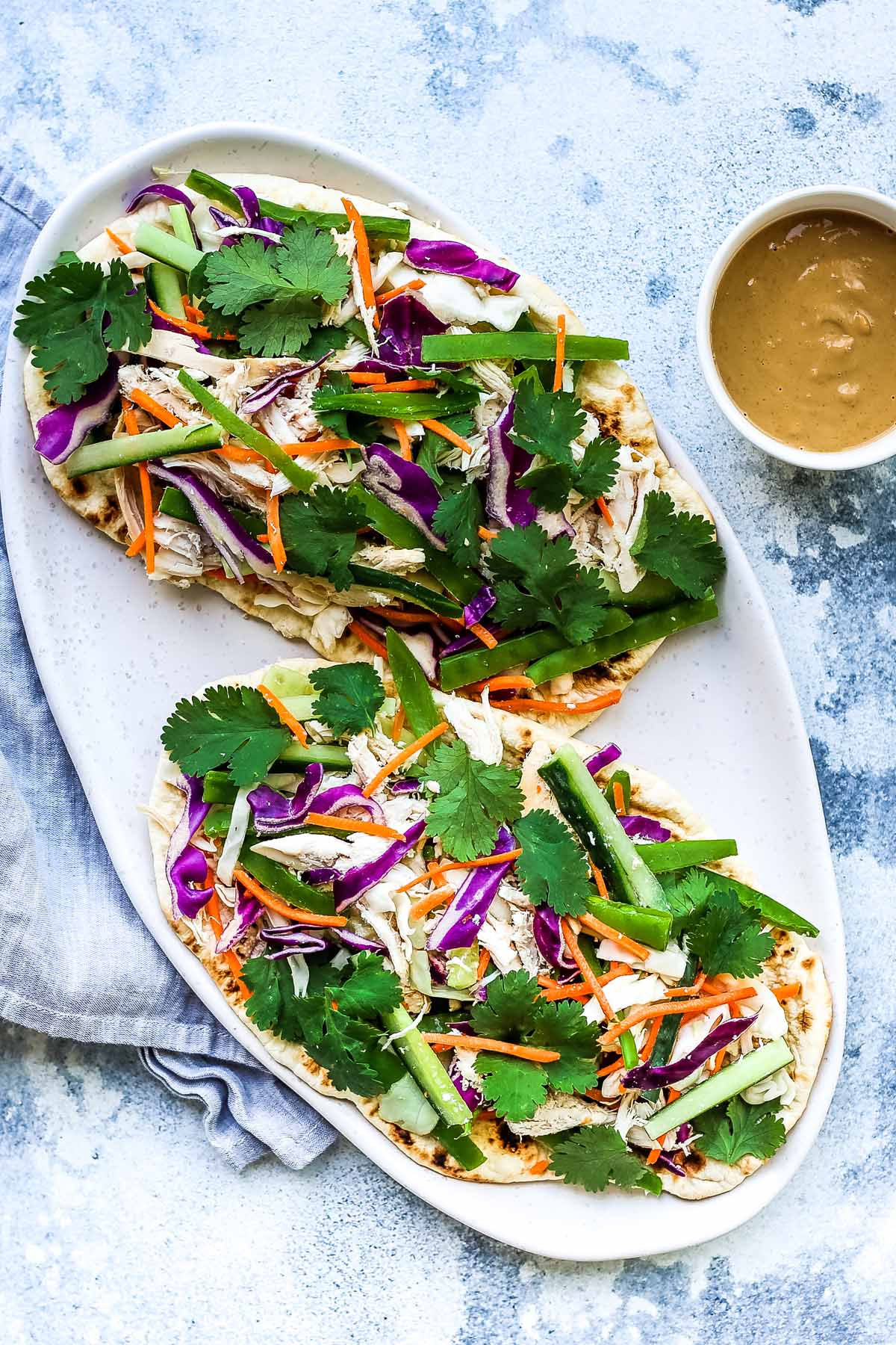 Chicken Satay Salad Flatbreads