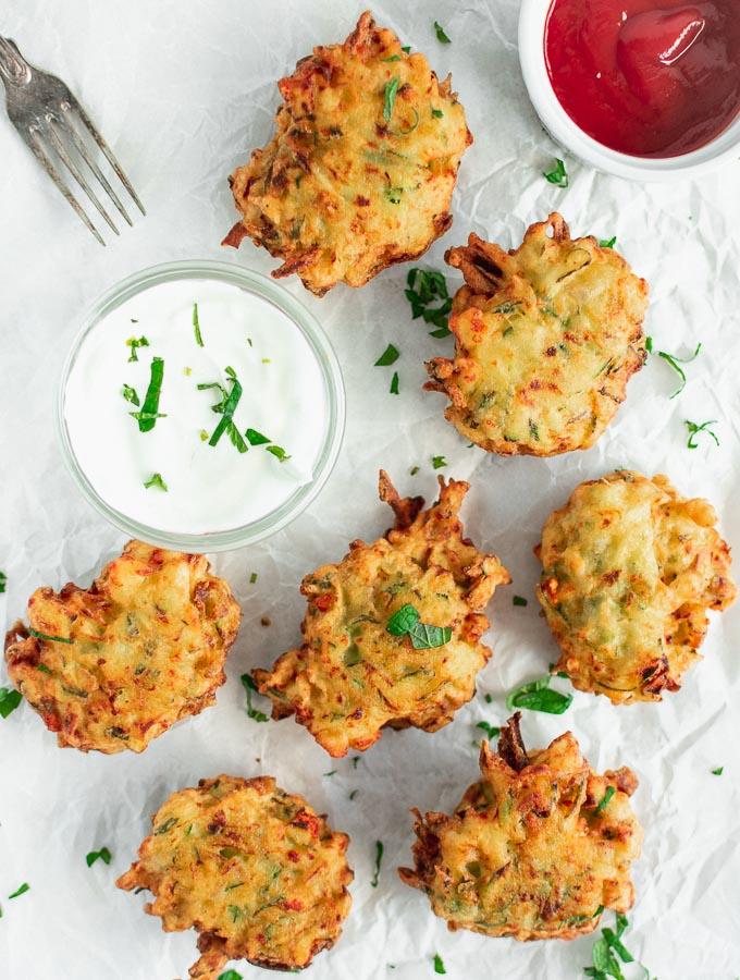 Crispy Zucchini Fritters Recipe With Feta Cheese