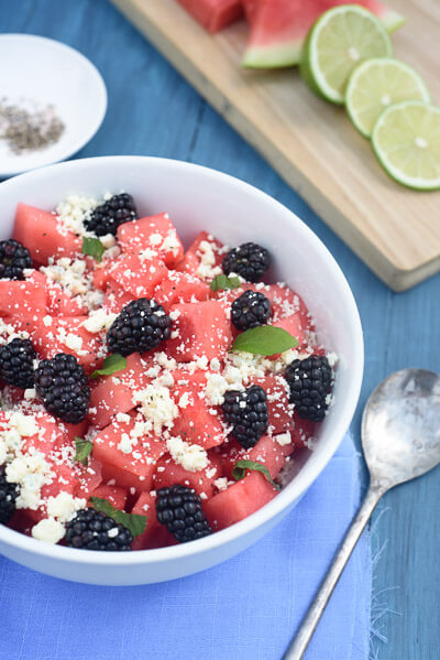 Watermelon Salad with Blackberries & Blue Cheese