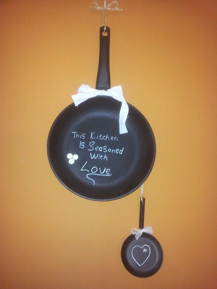 Frying Pan Chalkboard, upcycle old frying pan, repurpose